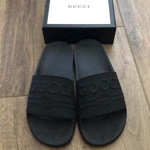 Gucci Shoes - Authentic Size 7 Black Gucci Slides